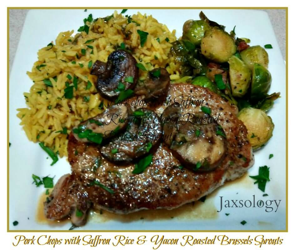 Yacon roasted brussels sprouts with pork chops and saffron rice