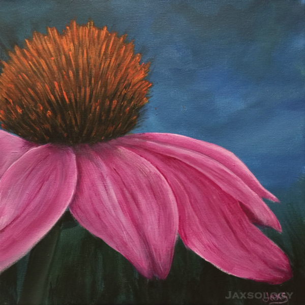 Echinacea Reprinted Photo Acrylic Painting 5x5 Standout Mount