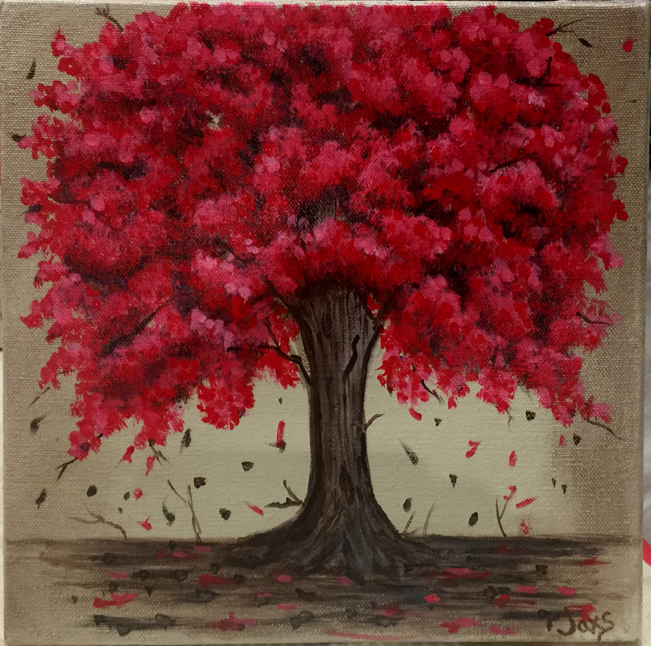 Falling Red Maple Tree Canvas Art for Sale