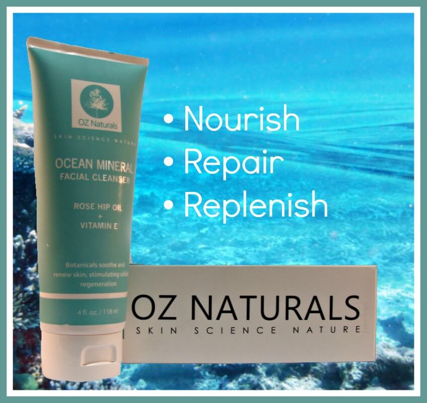 Oz Naturals Ocean Mineral Facial Cleanser Ocean Bottom Ad Style