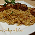Pan Seared Scallops with Lemon Champagne Orzo Recipe