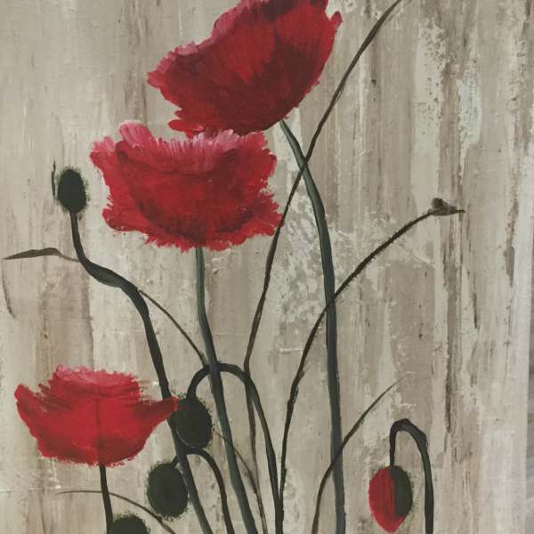 Poppy Flower Field Canvas Art for Sale