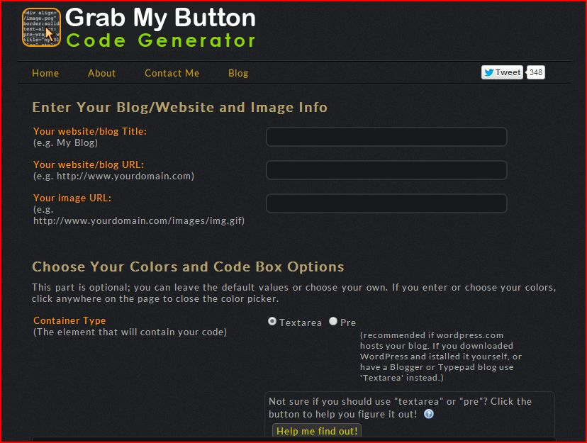 grab my button code generator screen shot one
