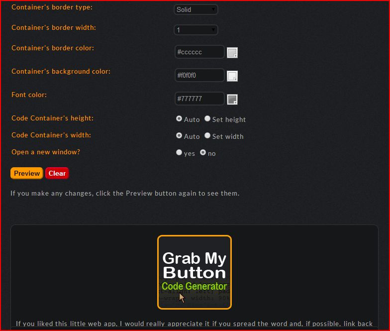 grab my button code generator screen shot two